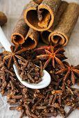stock photo of cinnamon sticks  - Traditional Christmas spices  - JPG