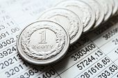 stock photo of lien  - close up of Polish zloty coins, currency
