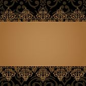 pic of damask  - Vector seamless baroque damask luxury black and golden border frame - JPG