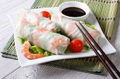 foto of shrimp  - spring roll with shrimp and sauce on a plate close - JPG