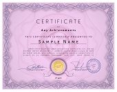 foto of macrame  - Vintage certificate template with detailed border and calligraphic elements on pink paper with safety watermarks in vector - JPG