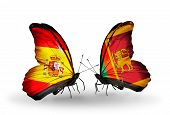 image of spanish money  - Two butterflies with flags on wings as symbol of relations Spain and Sri Lanka - JPG