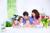 pic of little young child children girl toddler  - Happy young family with three children  - JPG