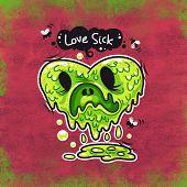 image of puke  - Cartoon Love Sick Monster for Humor Valentine - JPG