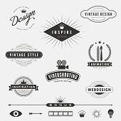 foto of logo  - Retro Vintage Labels Logo design vector lettering inspiration template set - JPG
