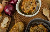stock photo of french toast  - It is the French onion soup with baked toast with cheese on top rustic pastry - JPG