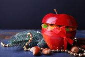 pic of hazelnut tree  - Red apple stuffed with dried fruits with cinnamon - JPG
