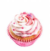 pic of fancy cake  - A cup cake with pink and white buttercream icing isolated on white - JPG