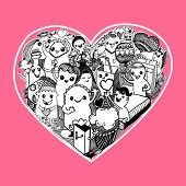 stock photo of kawaii  - cartoon Hearts Pattern hand - JPG