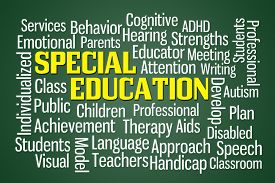 picture of cognitive  - Special Education word cloud on Green Background - JPG