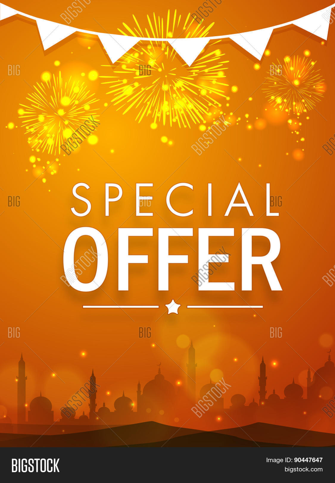 beautiful special offer poster banner or flyer decorated beautiful special offer poster banner or flyer decorated shiny fireworks and mosque silhouette