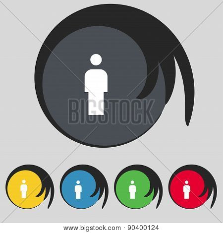 Human, Man Person, Male Toilet Icon Sign. Symbol On Five Colored Buttons. Vector