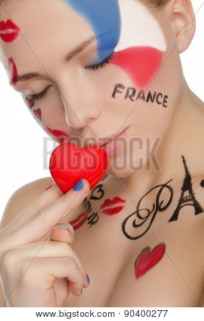 Happy Woman With Make-up On Topic Of France