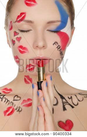 Young Woman With Face Art On Theme Of Paris