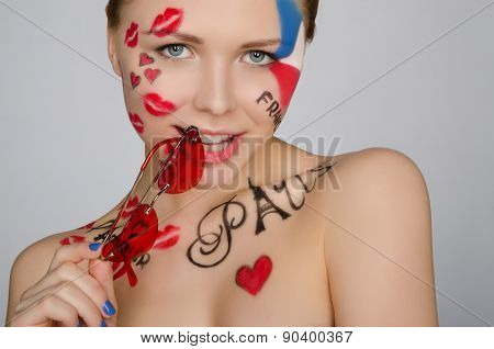 Woman With Glasses On Theme Of France And Paris