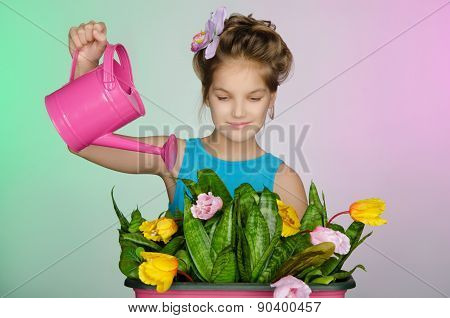 Happy Girl Watering Flowers