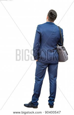 Rear View Of Businessman In Suit.