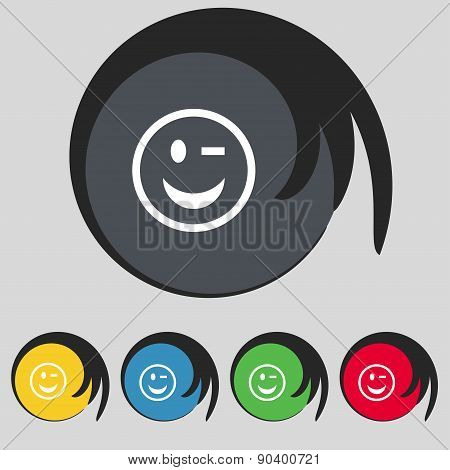 Winking Face Icon Sign. Symbol On Five Colored Buttons. Vector