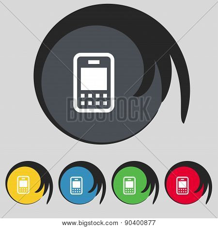 Mobile Telecommunications Technology Icon Sign. Symbol On Five Colored Buttons. Vector