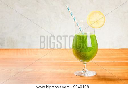 A Green Vegetable Cocktail With Copy Space