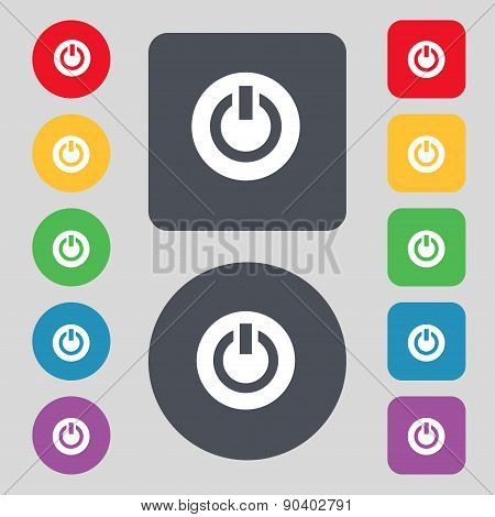 Power,  Switch On, Turn On  Icon Sign. A Set Of 12 Colored Buttons. Flat Design. Vector