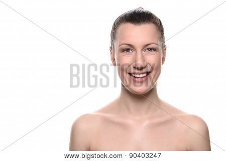 Smiling Healthy Woman With Bare Shoulders