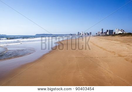Low Tide At Durban Beachfront With Hotels In Background