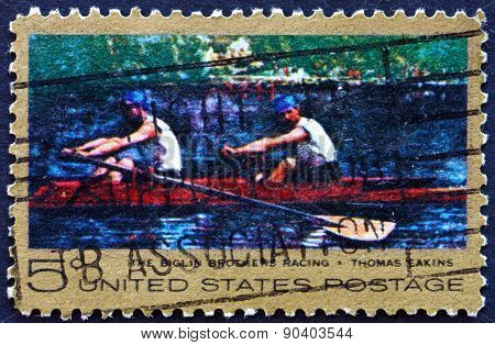 Postage Stamp Usa 1967 The Biglin Brothers Racing, Painting