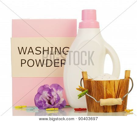 Washing powder and Cleaning items with violet flower