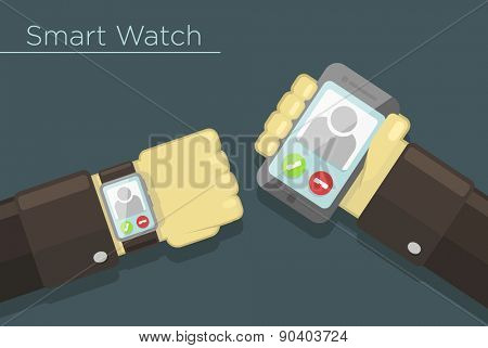 Vector illustration of smart watch and smartphone synchronization concept