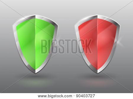 Vector green and red shields, protection, antivirus, safety concept, eps10