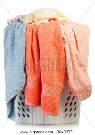 Dirty laundry in a washing basket