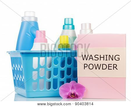 laundry basket and Cleaning items