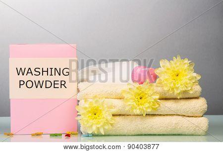 Washing powder and towels