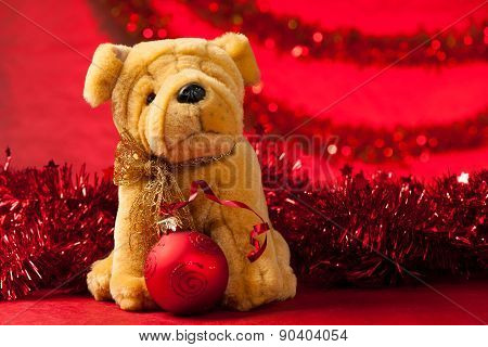 Toy Dog With Christmas Ornaments