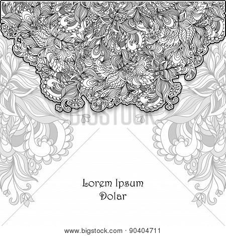 Template with doodle flowers   lace in grey