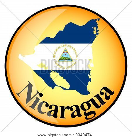 Orange Button With The Image Maps Of Nicaragua