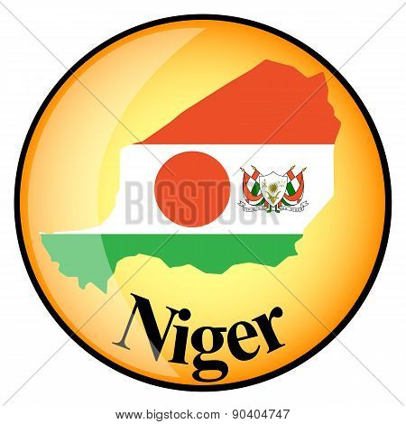 Orange Button With The Image Maps Of Niger