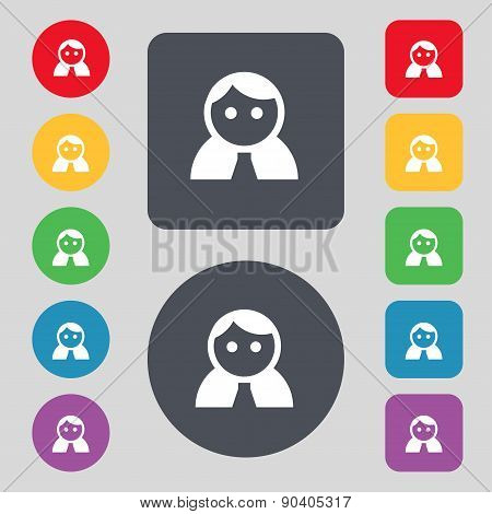 Female, Woman Human, Women Toilet, User, Login Icon Sign. A Set Of 12 Colored Buttons. Flat Design.