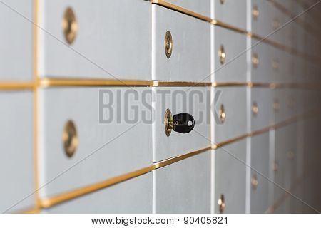 Rows Of Safety Deposit Boxes Or Security Lockers