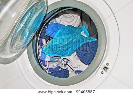 Washing Machine With Dirty Linen, Close Up, Detail