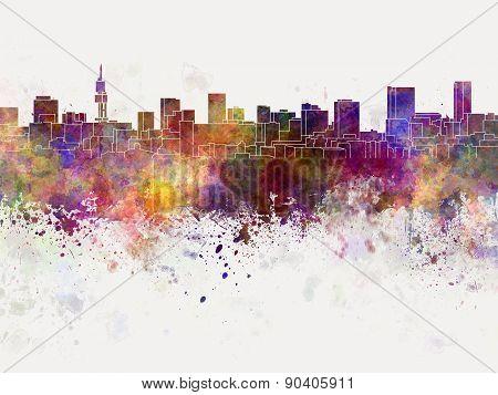 Pretoria Skyline In Watercolor Background