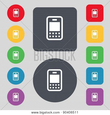 Mobile Telecommunications Technology Icon Sign. A Set Of 12 Colored Buttons. Flat Design. Vector