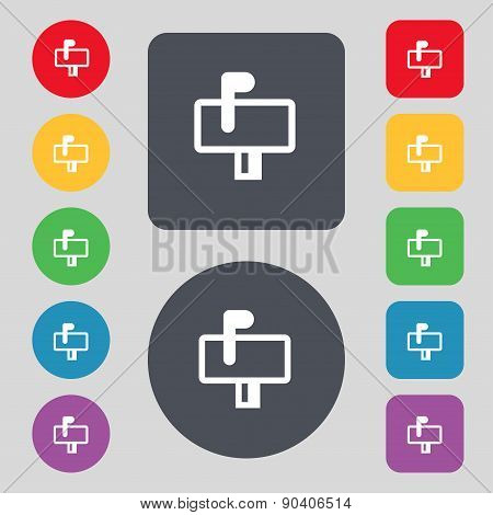 Mailbox Icon Sign. A Set Of 12 Colored Buttons. Flat Design. Vector
