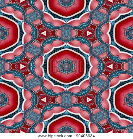 Seamless Kaleidoscopic Pattern In Red And Blue 5