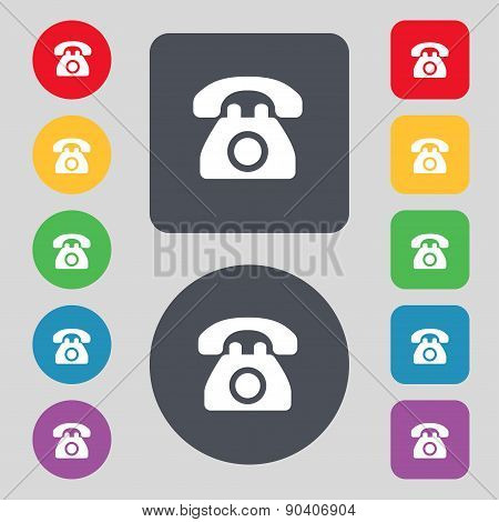 Retro Telephone Icon Sign. A Set Of 12 Colored Buttons. Flat Design. Vector