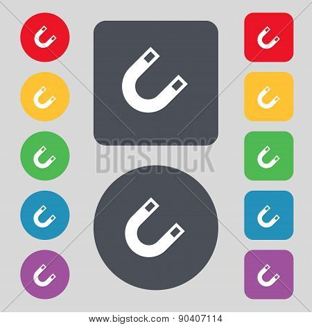 Magnet, Horseshoe Icon Sign. A Set Of 12 Colored Buttons. Flat Design. Vector