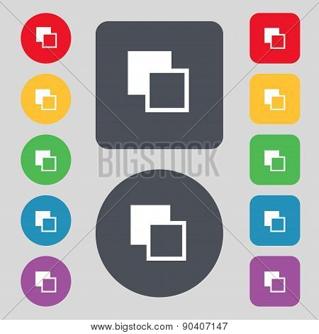 Active Color Toolbar Icon Sign. A Set Of 12 Colored Buttons. Flat Design. Vector