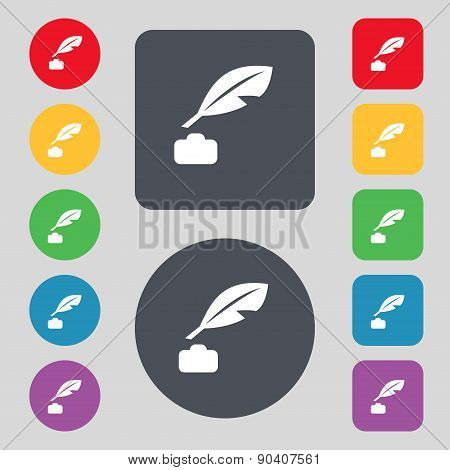 Feather, Retro Pen Icon Sign. A Set Of 12 Colored Buttons. Flat Design. Vector