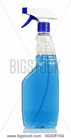 Glass cleaner with blue fluid